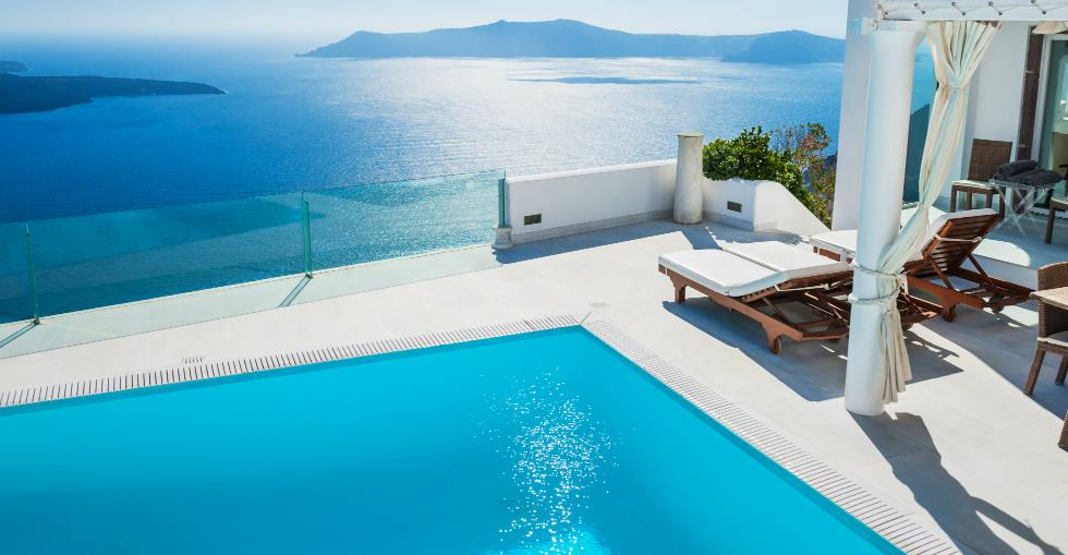 Blue sea with pool